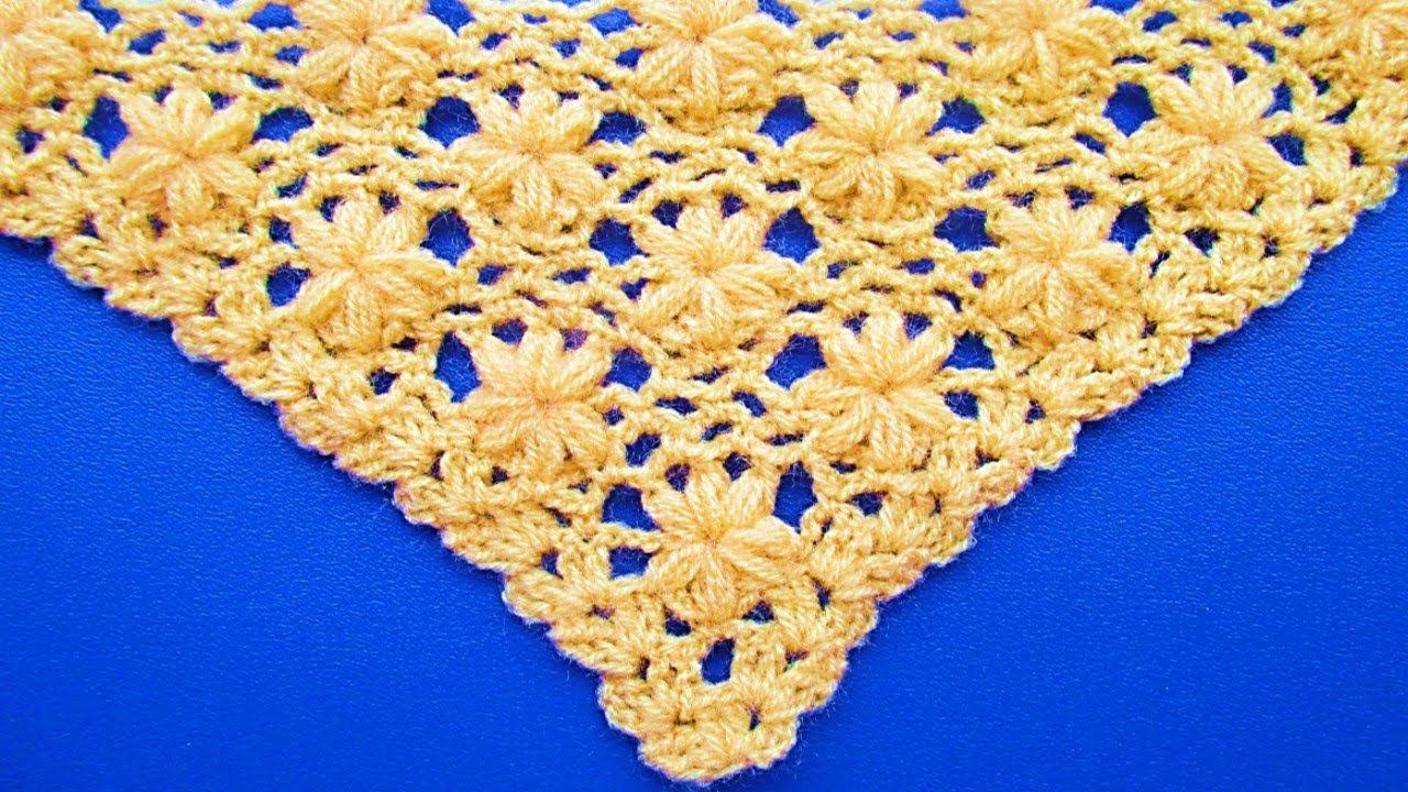 Chal Triangular Tejido A Crochet Paso A Paso Punto Jazmin Tejidos A Crochet Punto Jazmin Chal Tejido A Crochet