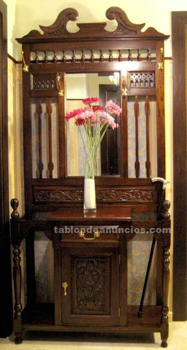 Mueble de entrada antiguo con parag ero muebles - Perchero recibidor antiguo ...