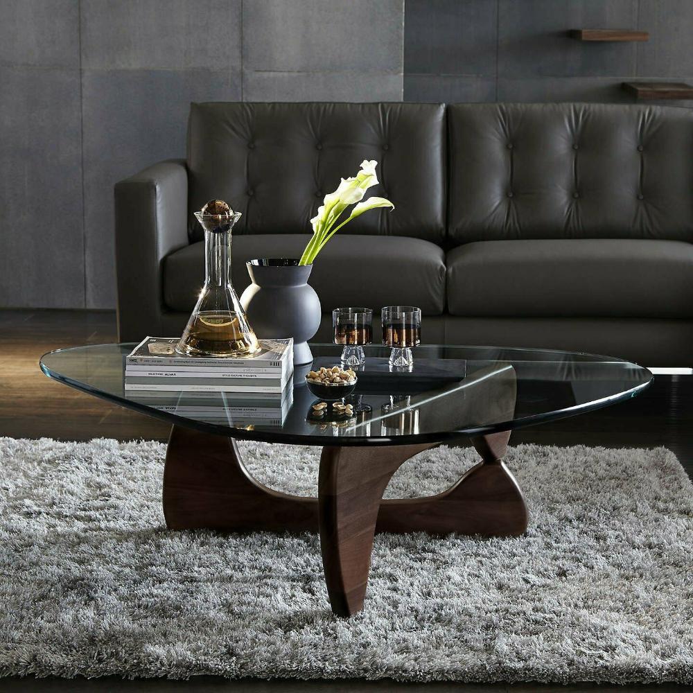 Noguchi Coffee Table In Dark Walnut Isamu Triangle Wood Base Genuine Ebay Noguchi Coffee Table Unique Coffee Table Design Center Table Living Room