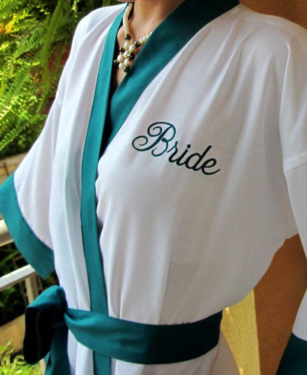 Personalized Bridesmaid Robes Peacock Blue Bridal Robe Kimono Robes Bridal Party Gift Knee