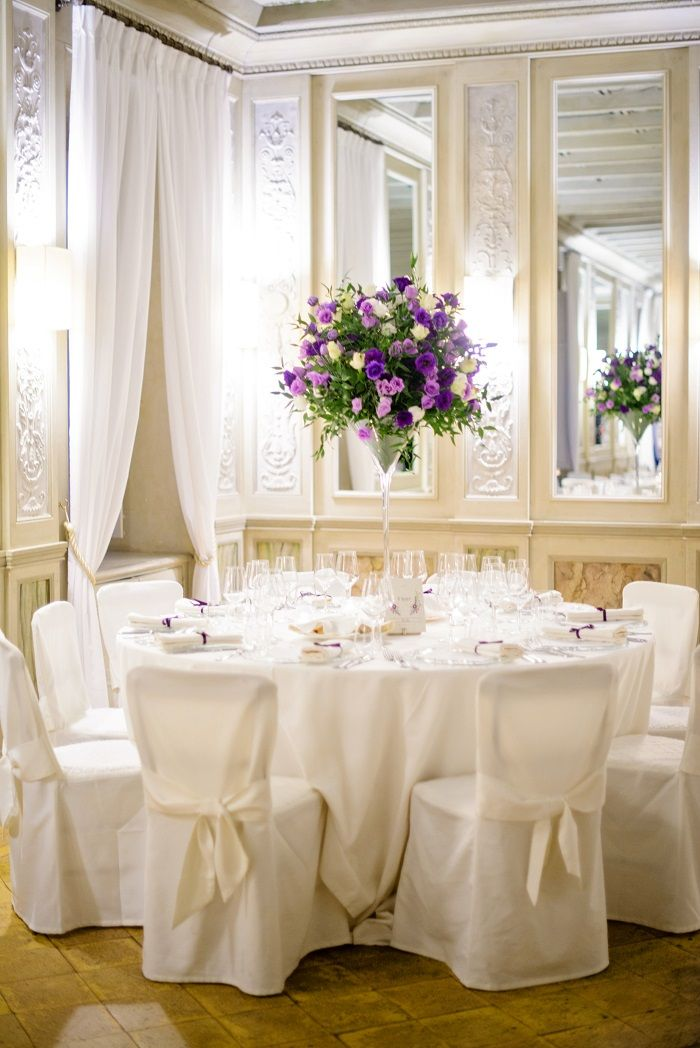 Wedding Table with Purple centerpieces | Romantic Rome Garden wedding | Fab Mood