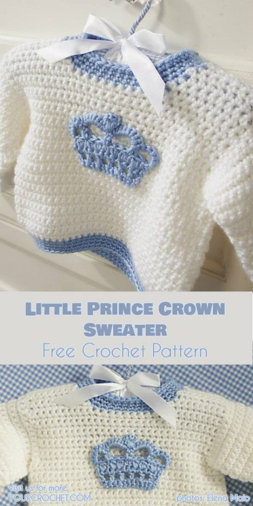 Easy] Little Prince - Crochet Crown Sweater Free Pattern and Video ...