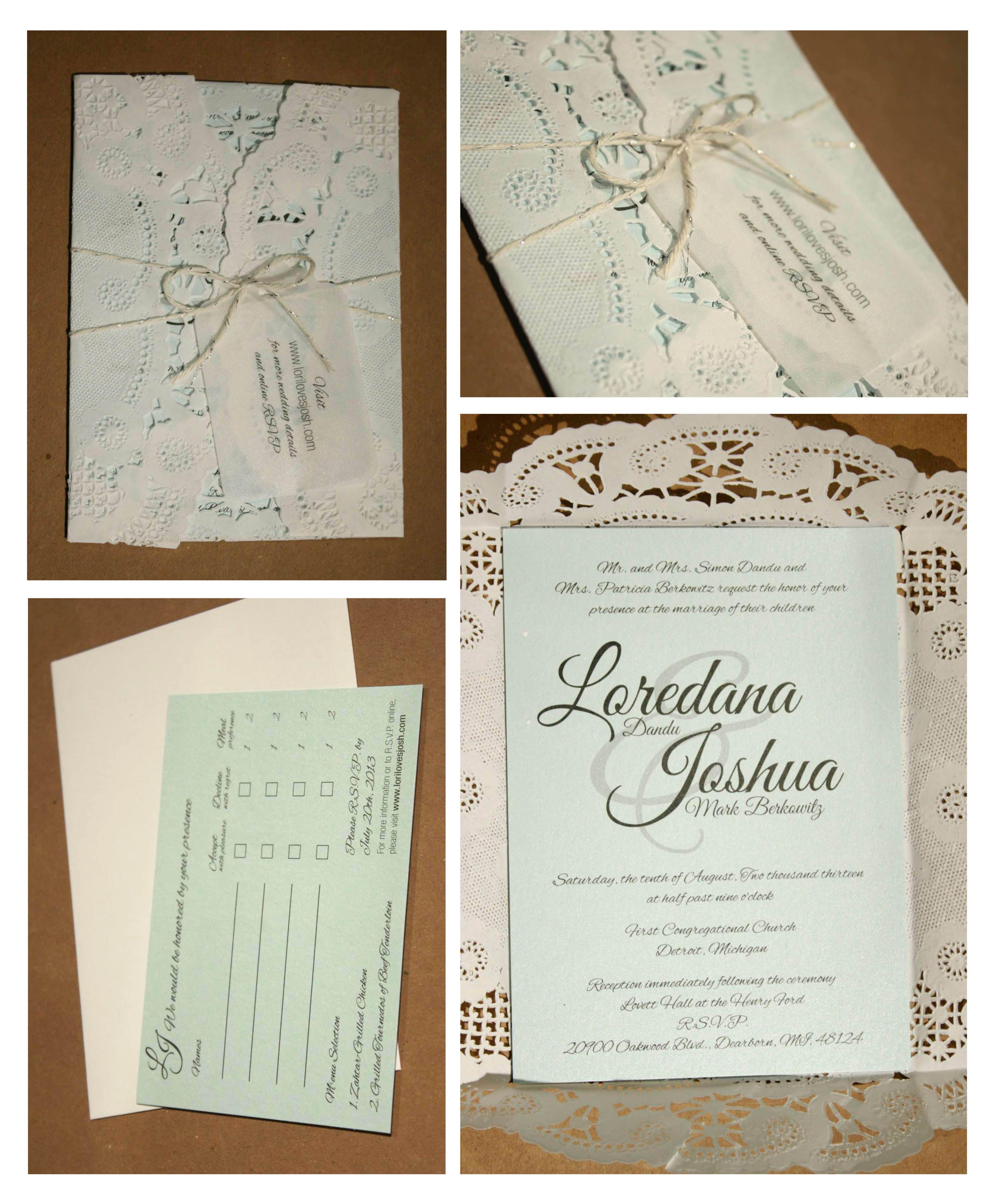 Lace/doily Wedding Invitation