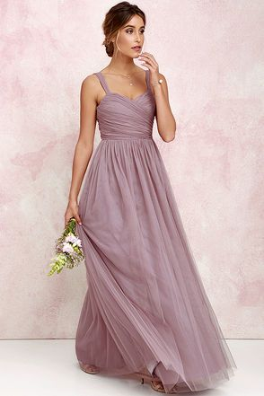 Sunday Kind Of Love Mauve Tulle Gown At Lulus