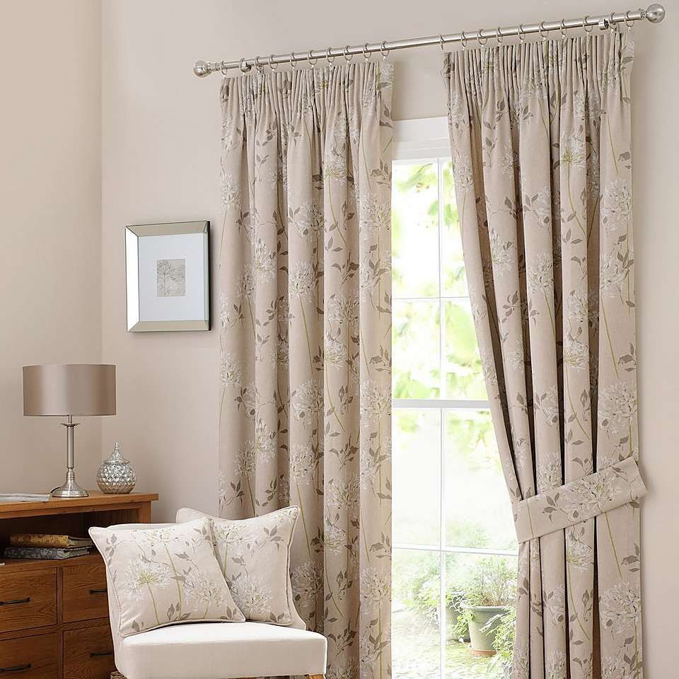 Natural Agapanthus Lined Pencil Pleat Curtains