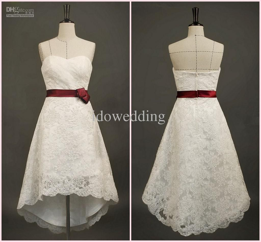 Wholesale wedding dresses buy simple high low sweetheart lace