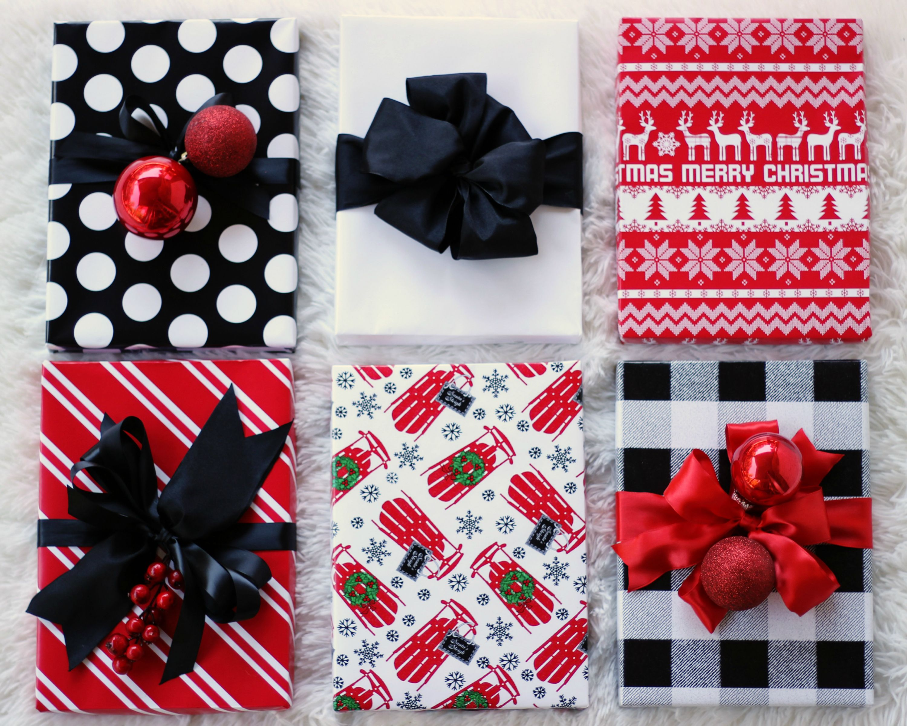 coordinating gift wrap wrapping paper red black white wrapping