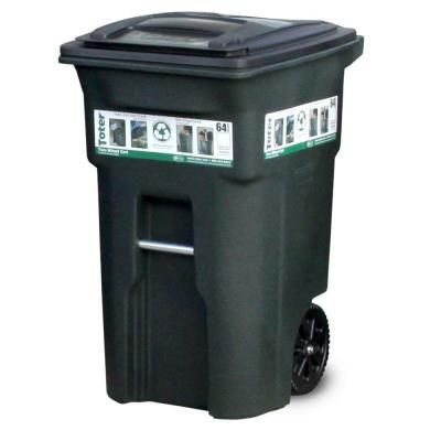 Outdoor Trash Can With Wheels Enchanting Toter 64 Galgreen Trash Can With Wheels And Attached Lid 2018
