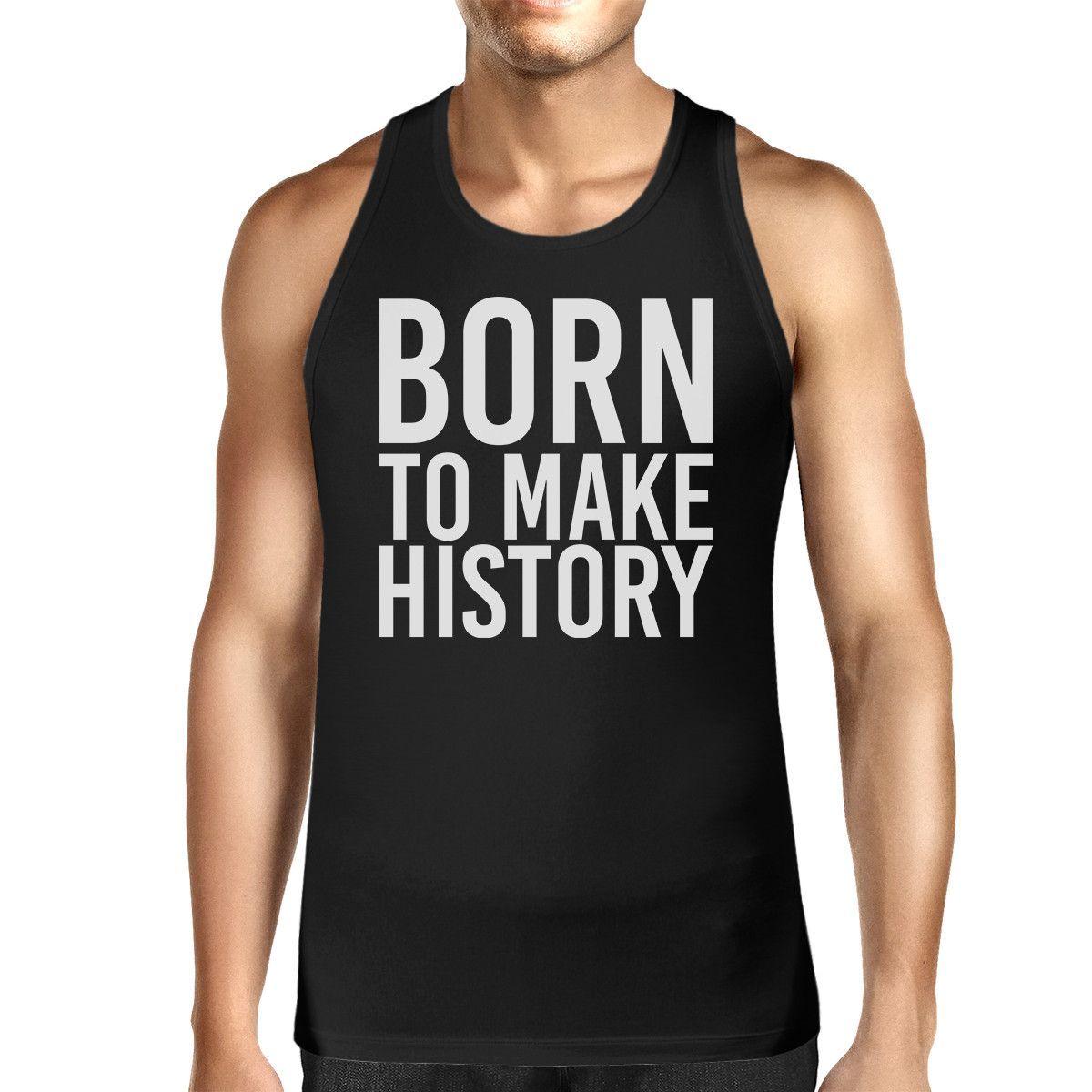 dc4bf29213c42 Born To Make history Mens Sleeveless Black Tank Top Yuri on Ice in ...