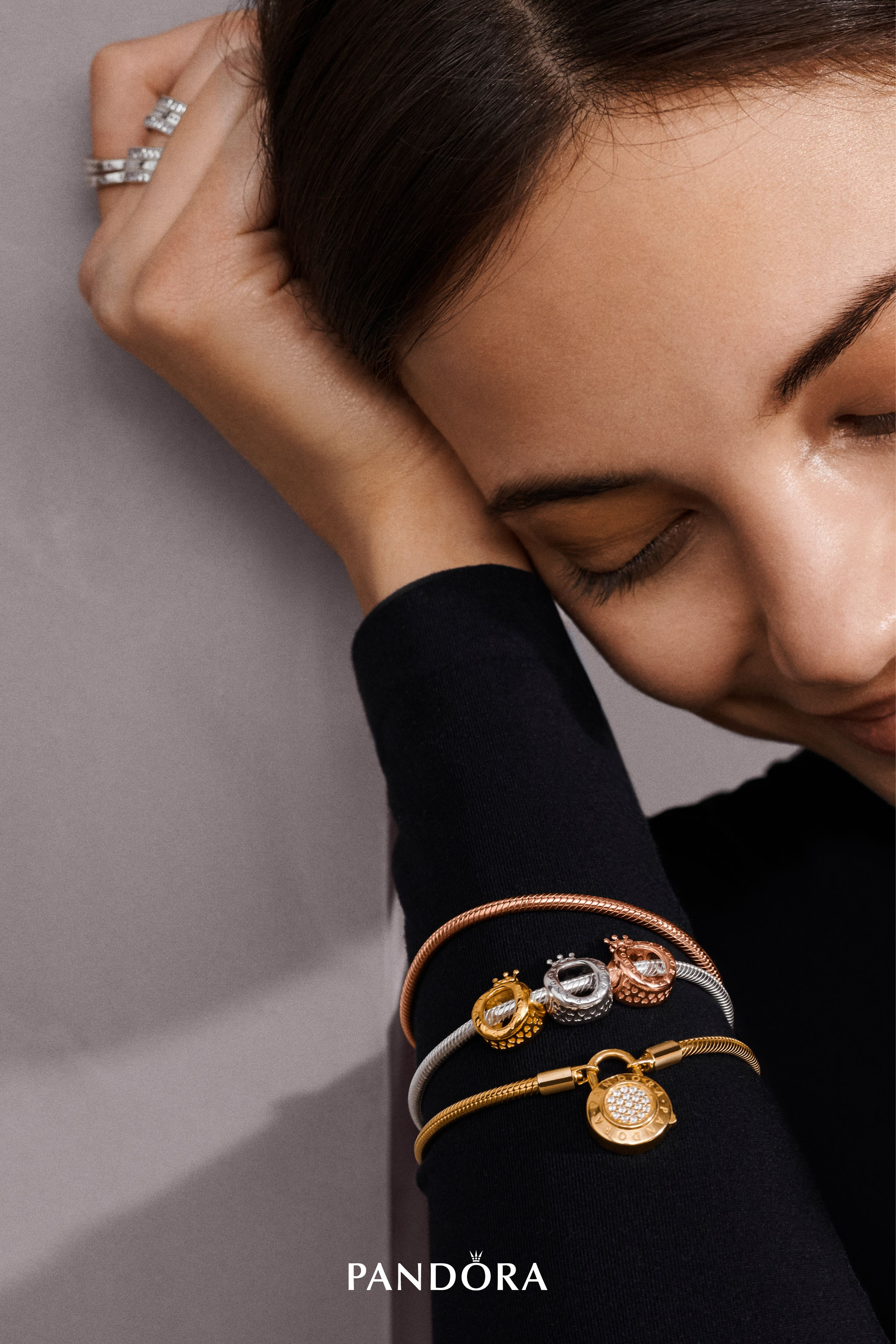 f2b1b0590 ... netherlands create a perfect three tone bracelet styling with our  iconic new pandora crown o charms