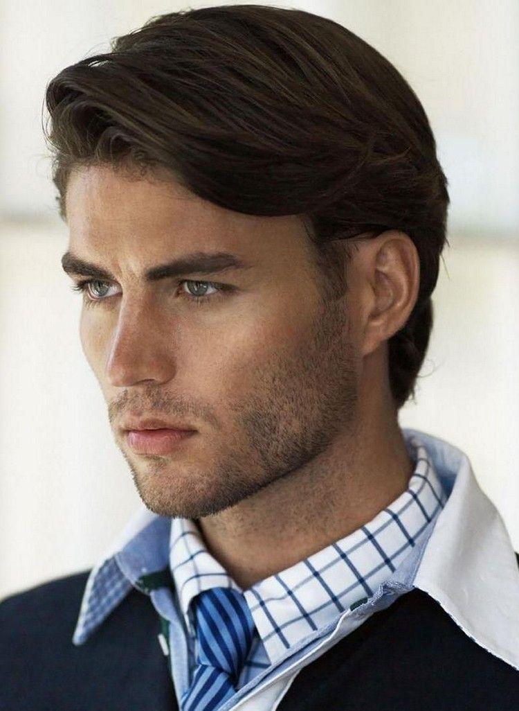 mittellange frisuren männer glatte haare zur seite   Herrenfrisuren, Haarschnitt männer, Coole