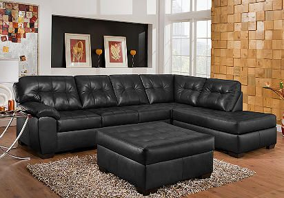 Angelo Bay Onyx Blended Leather 6 Pc Living Room Plus 60