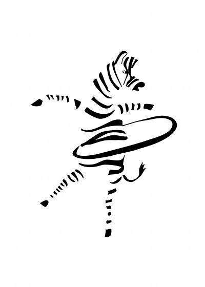 Hula Hoop Zebra Illustration 70x100 Cm Illustrator Illustration Zebra