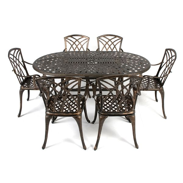 Ellister Regency Cast Aluminium 6 Armchair 152cm Oval Dining Set ...