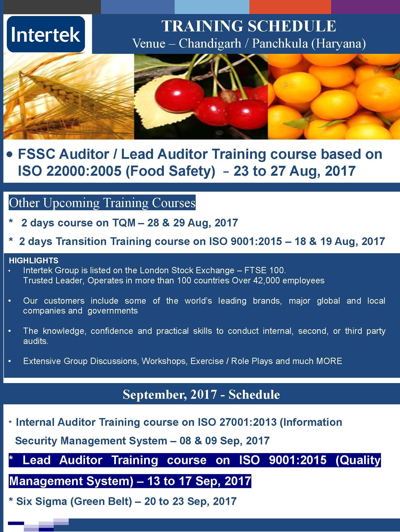 FSSC 22000 Lead Auditor Training course based on ISO 22000