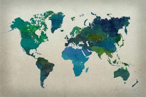 World map watercolor cool watercolor art decor and house world map watercolor cool gumiabroncs Choice Image