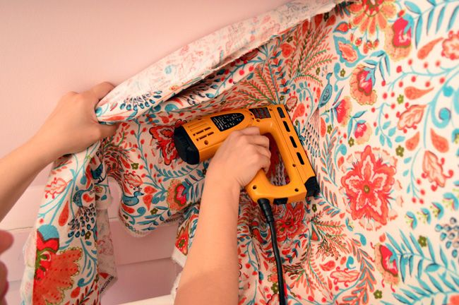 Wallflowers Aka How To Cover A Wall With Fabric Fabric Covered
