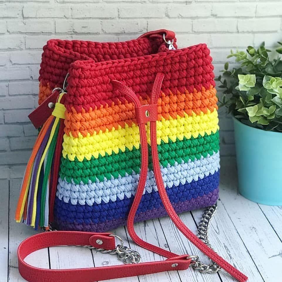 Bolsa De Croche Colorida Clique Na Foto E Aprenda Croche Passo A