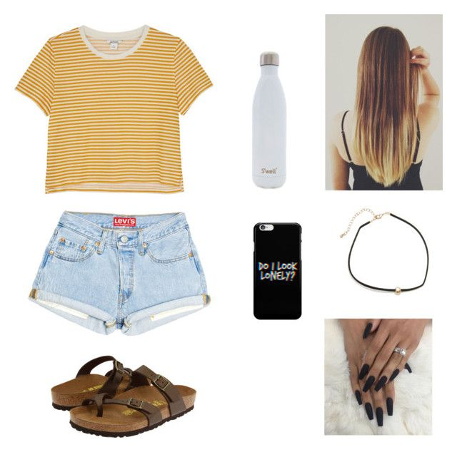"""last day of school outfits"" by sydful ❤ liked on Polyvore featuring Monki, Birkenstock and S'well"