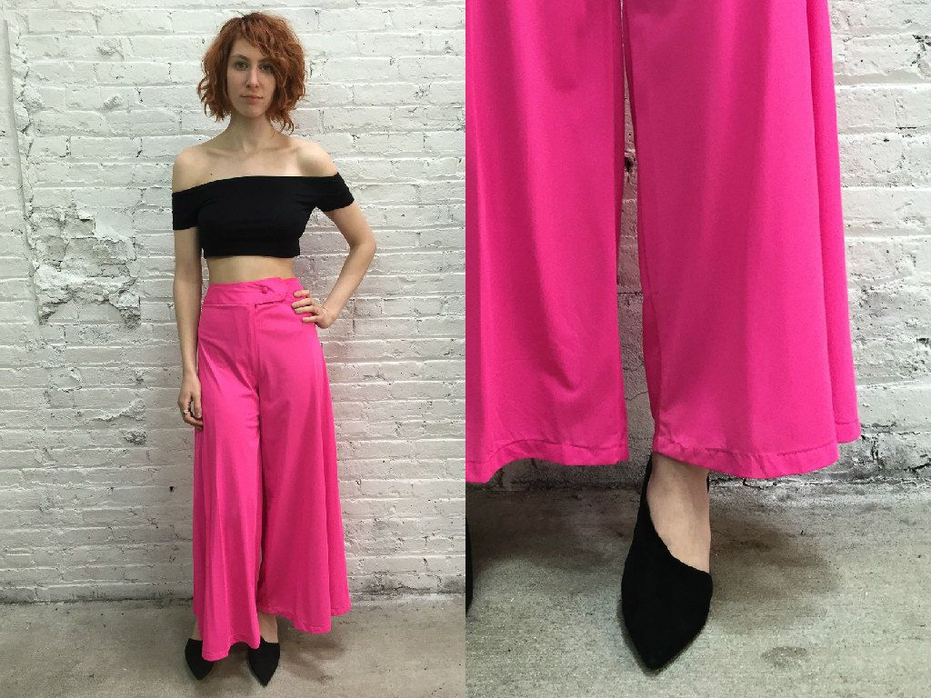 Vintage disco pants / hot pink wide leg flare pants / neon pink ...
