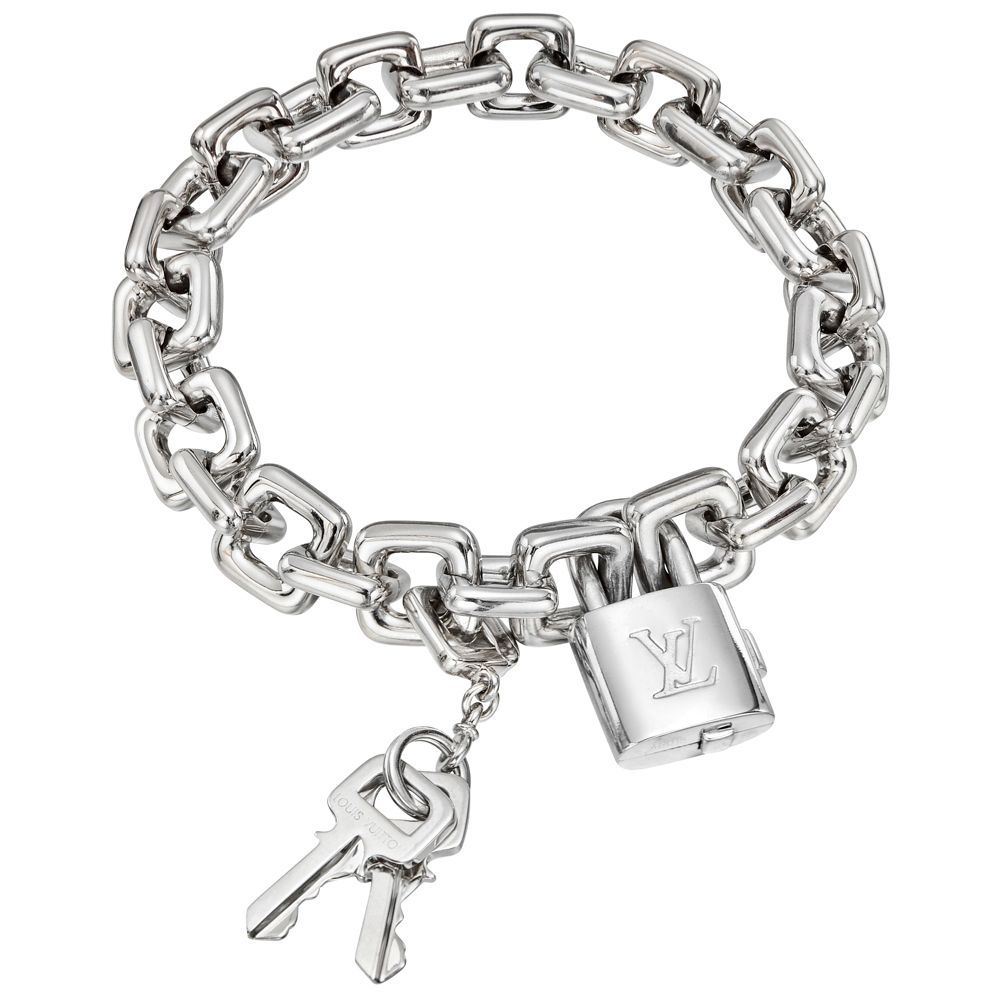 Louis vuitton k white gold padlock u keys charm bracelet