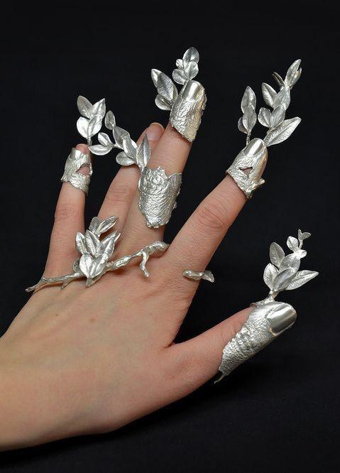 Silver roses rings