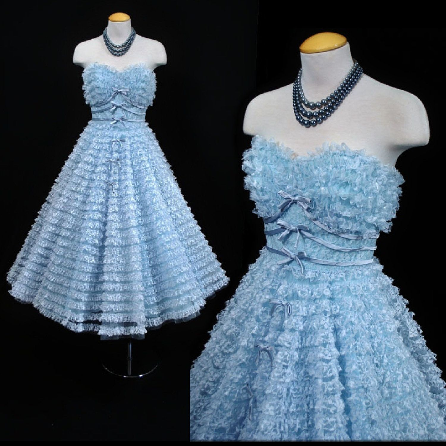 Vintage 50s Clifton Wilhite Blue Frothy Lace Tulle PROM Formal ...