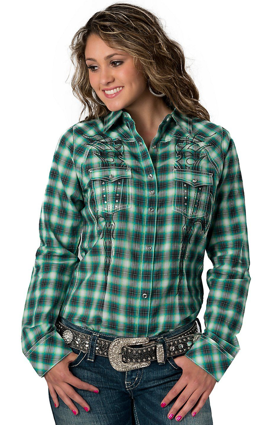 Rock 47 by wrangler women 39 s green blue and grey plaid w for Womens green checked shirt