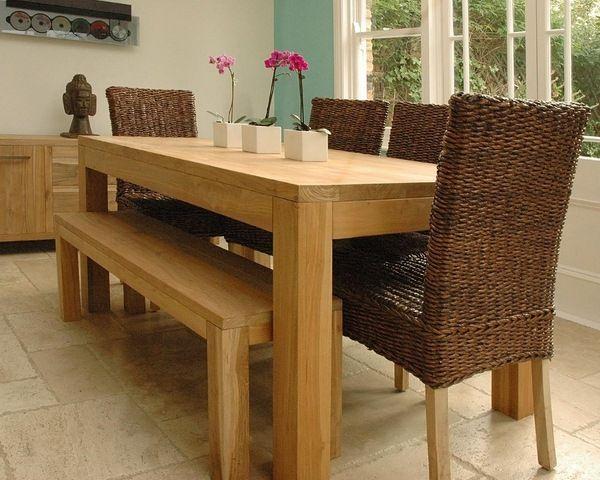 Mesa r stica de comedor sillas banco ideas decoracion salon pinterest wood table - Banco para comedor ...
