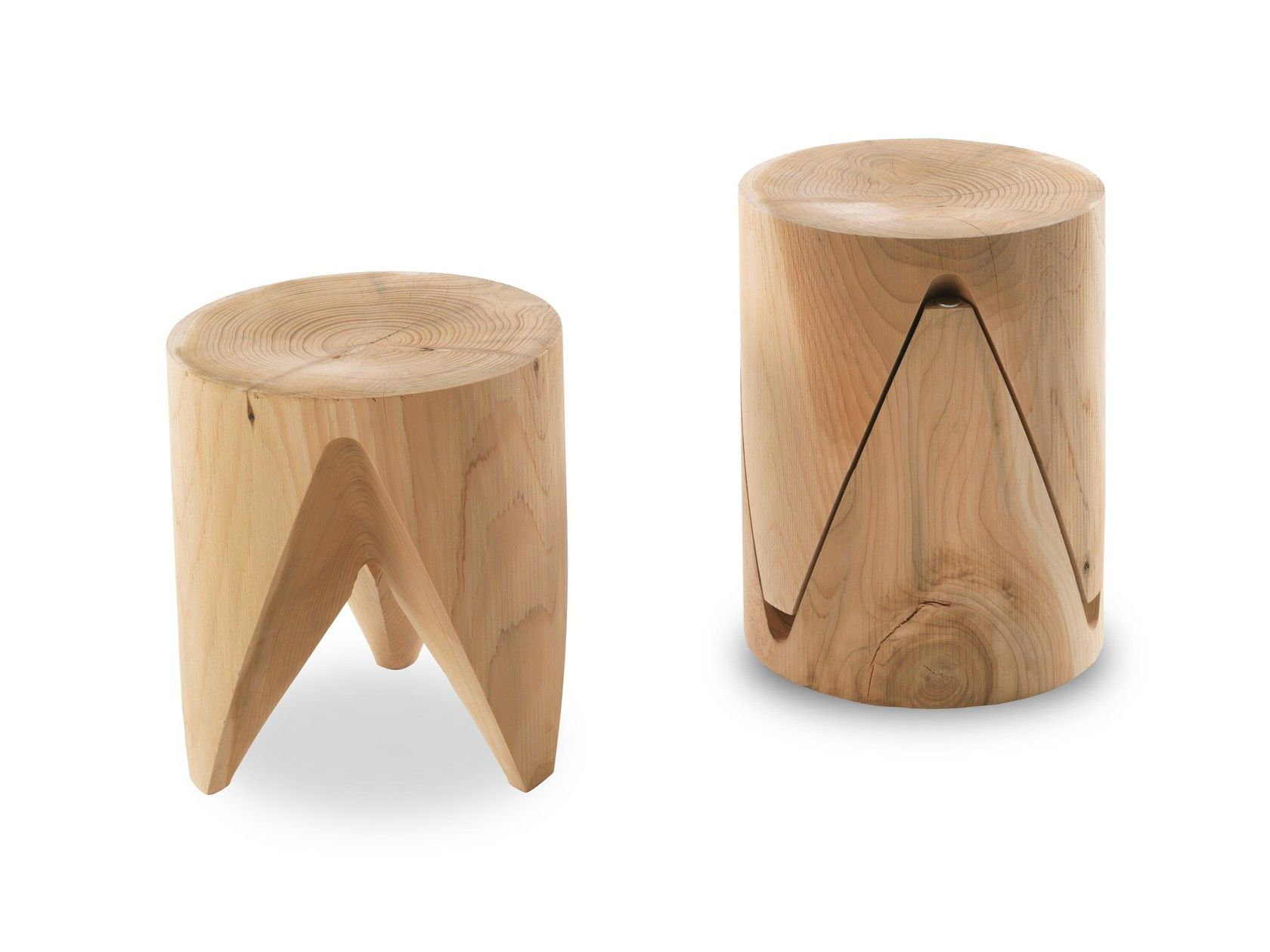 In Legno Wood Design sgabello basso impilabile in legno massello j+i zig + zag by