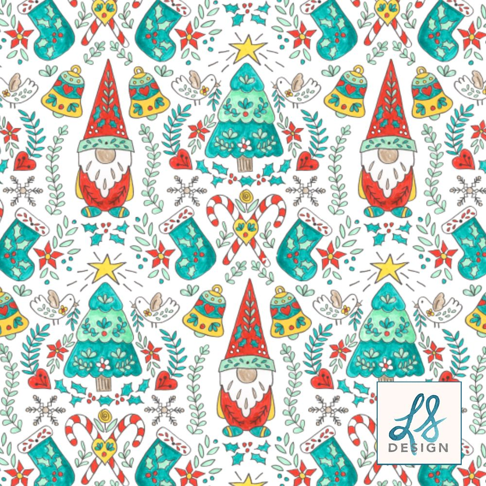 Folk Tomte And Tree Christmas Pattern Fabric Wallpaper And Decor In 2020 Scandinavian Folk Art Christmas Artwork Folk Art
