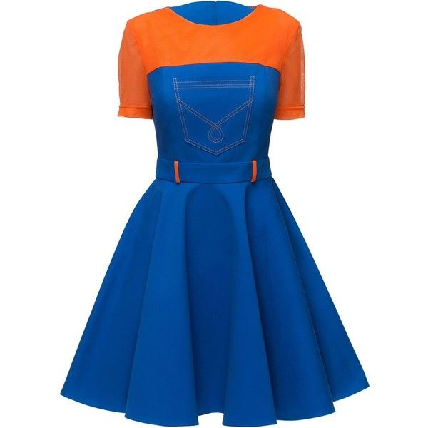 "'Blue and Orange"" Bare-shouldered Dress ($89) ❤ liked on Polyvore featuring dresses, orange dress, blue dress and blue day dress"