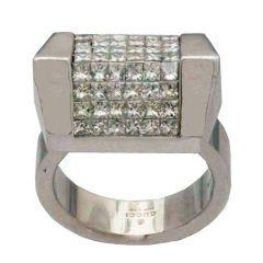 Gucci Diamond and White Gold Geometric Ring
