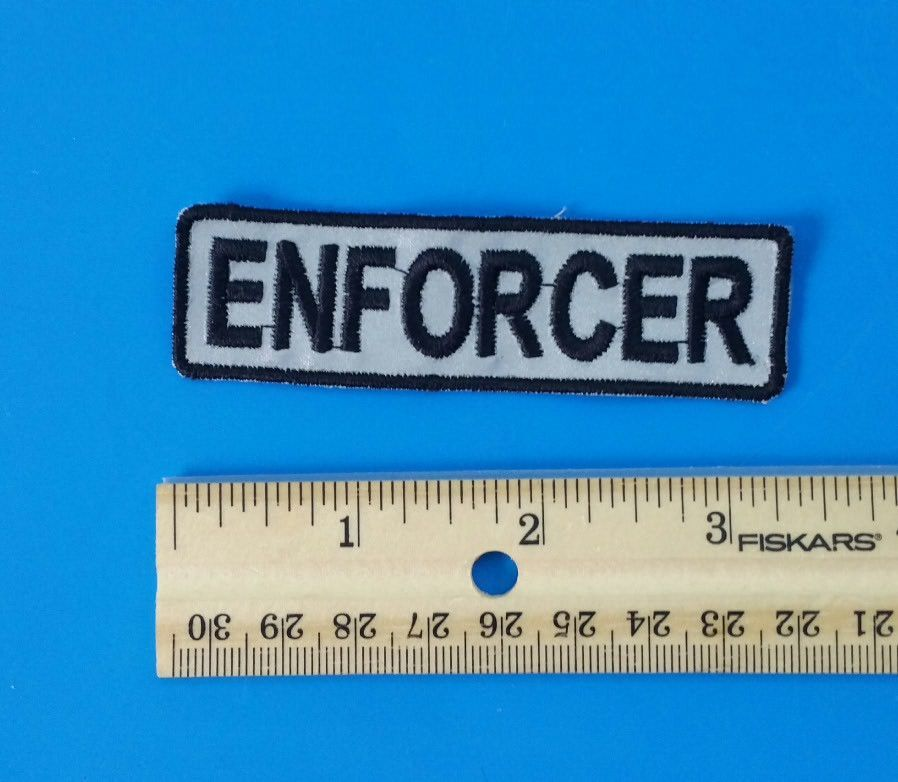 Enforcer Patch Motorcycle Club Rank Officer Reflective Patches For Vest Night Visiblity Motorcycle Clubs Motorcycle Patches Patches Motorcycle club patch template photoshop