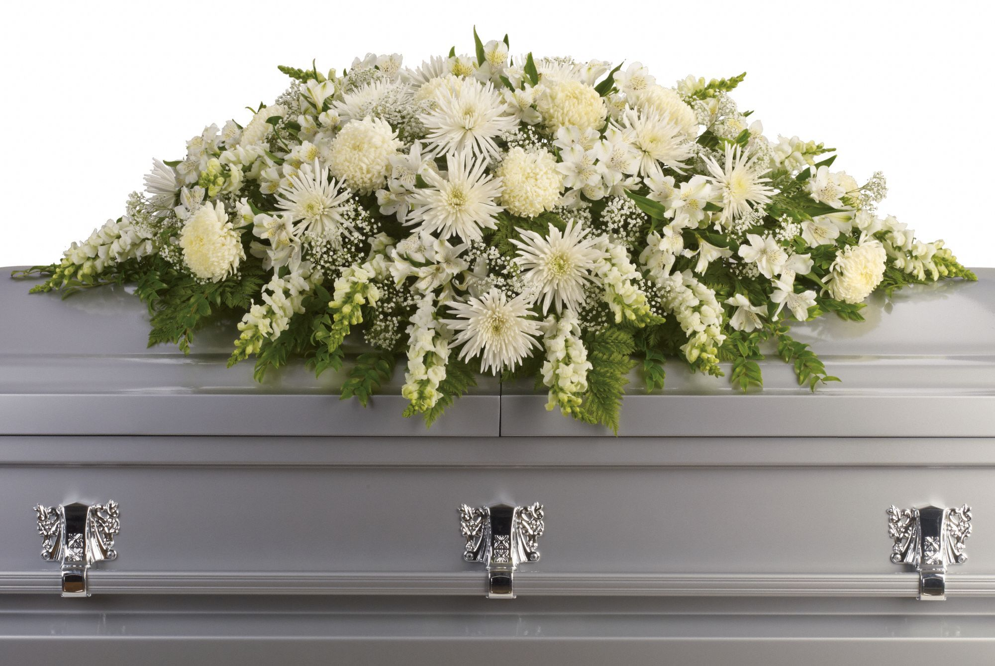 Funeral flowers calgary choice image flower wallpaper hd this exquisite casket spray of artistically arranged white flowers enduring light casket spray by calgary flowers mightylinksfo
