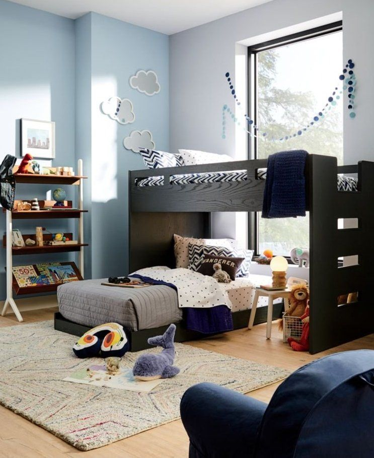 Abridged Charcoal Glaze Low Twin Bunk Bed Crate And Barrel Modern Kids Chairs Twin Bunk Beds Big Boy Bedrooms