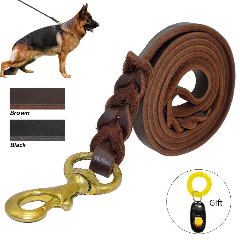 Braided Leather Dog Leash Pet Walk Training Leash For Medium