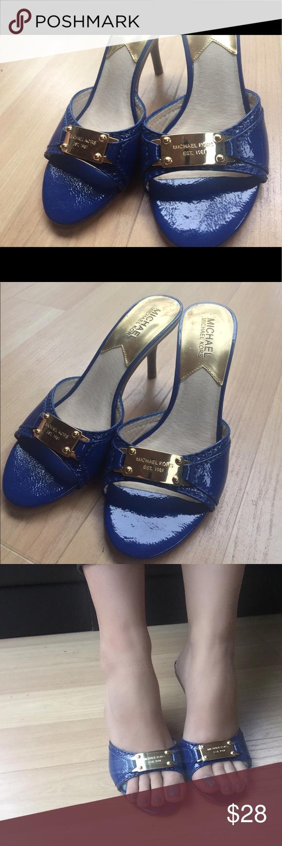 Michael Kors blue & gold sandal Gorgeous blue MK sandal, size 6.5 with a 1.5 inch heel Michael Kors Shoes Heels