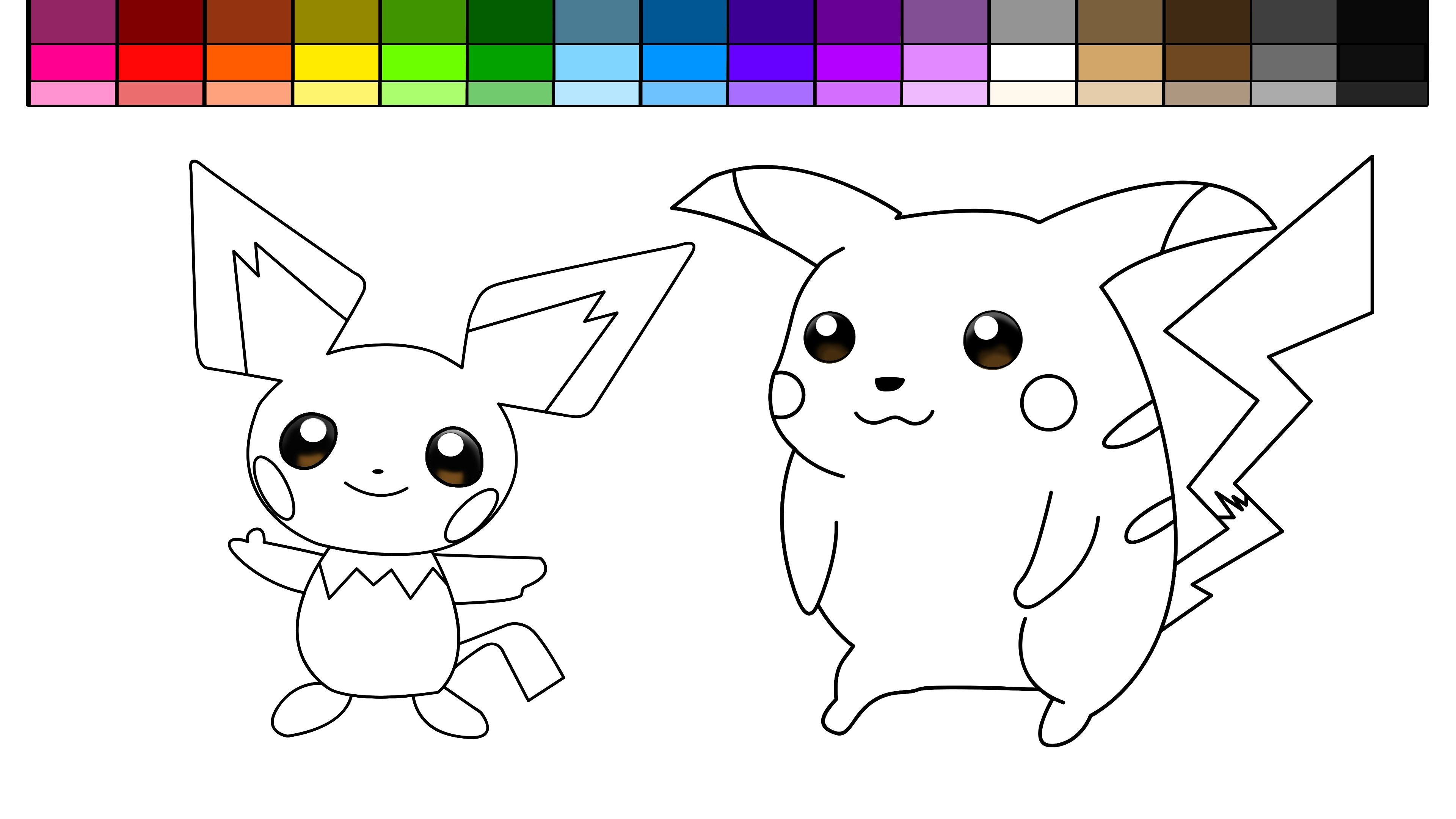 Pikachu and Pichu Coloring Pages to Print   Pokemon ...