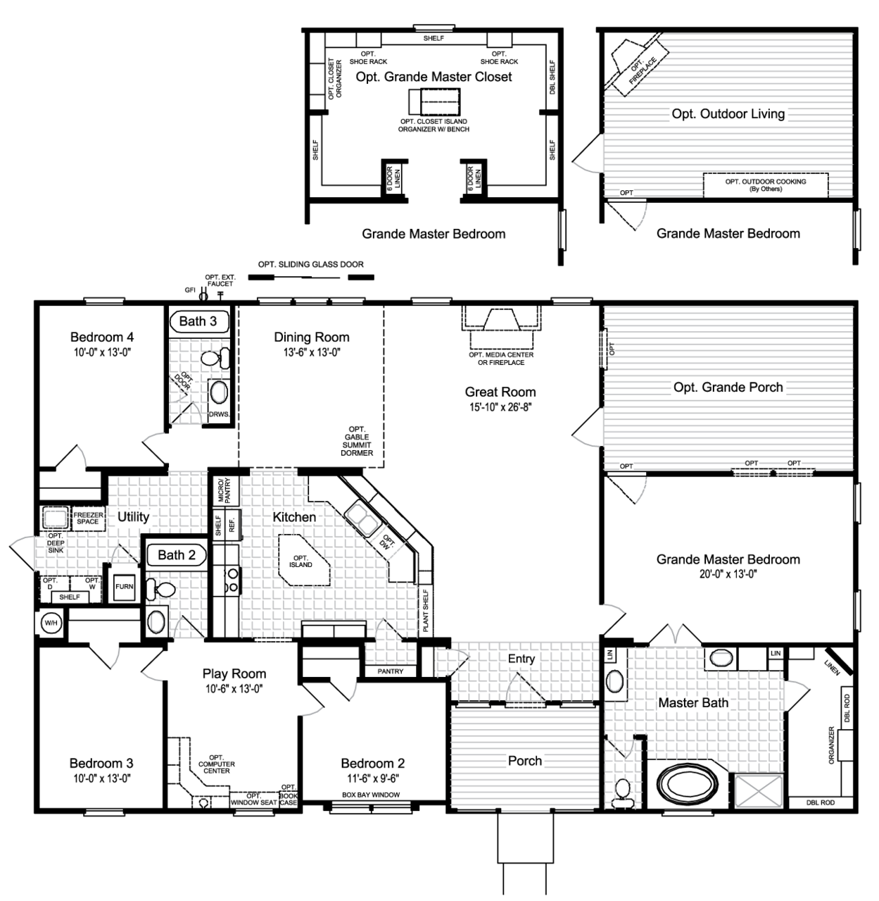 One Of My New Favorites As Palm Harbor Homes Is The Hacienda Ii Vrwd66a3 Floor Plan With Opt Grande Porch New House Plans Modular Home Floor Plans Floor Plans
