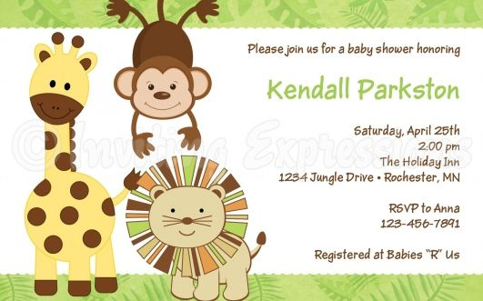 Free Printable Baby Shower Invitations Safari Baby Shower
