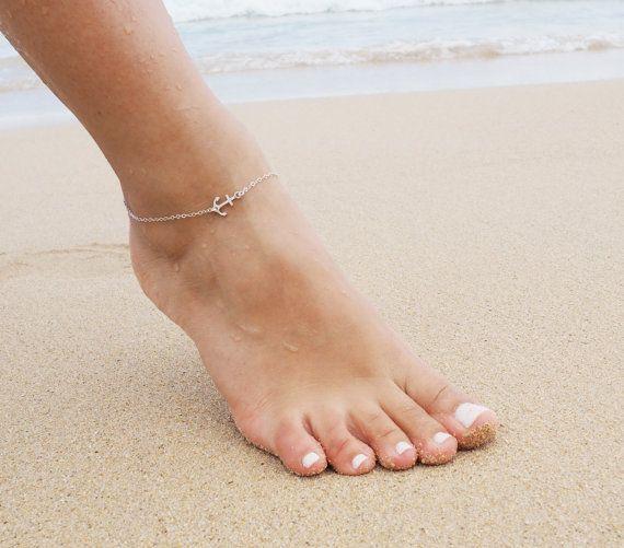 Sideways Anchor Anklet sterling silver D
