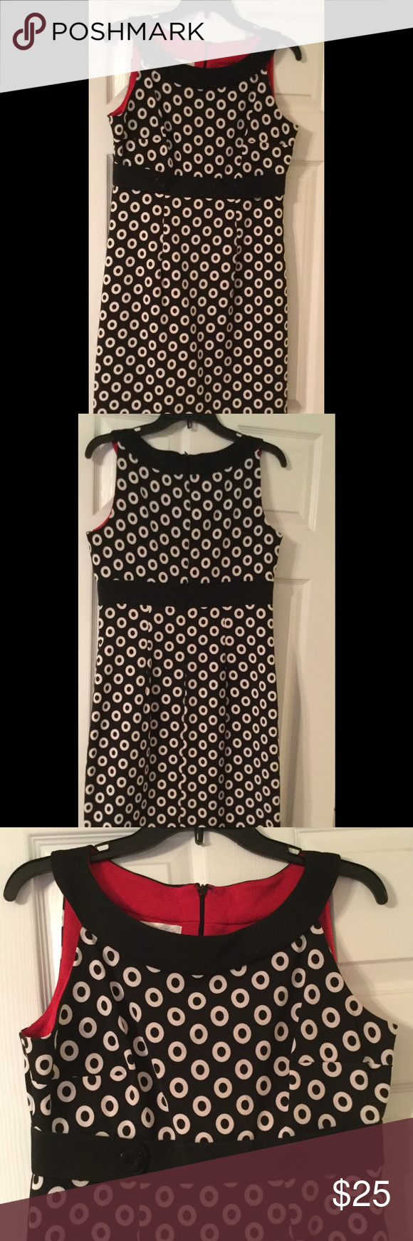 Black circle dress Beautiful black sleeveless dress with circle print. Worn once to a wedding. Front has button detail. London Times Dresses