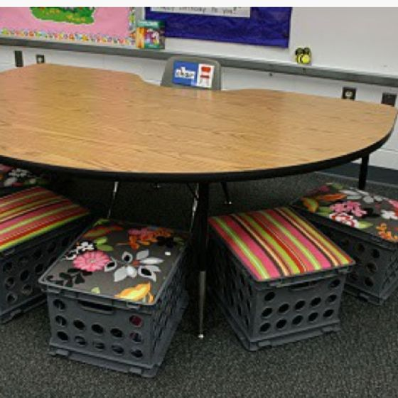 Seats Made From Milk Crates    Storage Inside, Too! Clutter Free Classroom:  Small Group Areas   Setting Up The Classroom