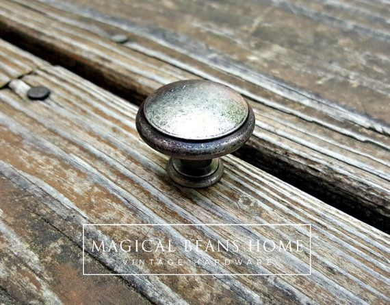 Weathered Silver Drawer Knobs Farmhouse Decor Country Furniture Rustic Cabinet Dresser