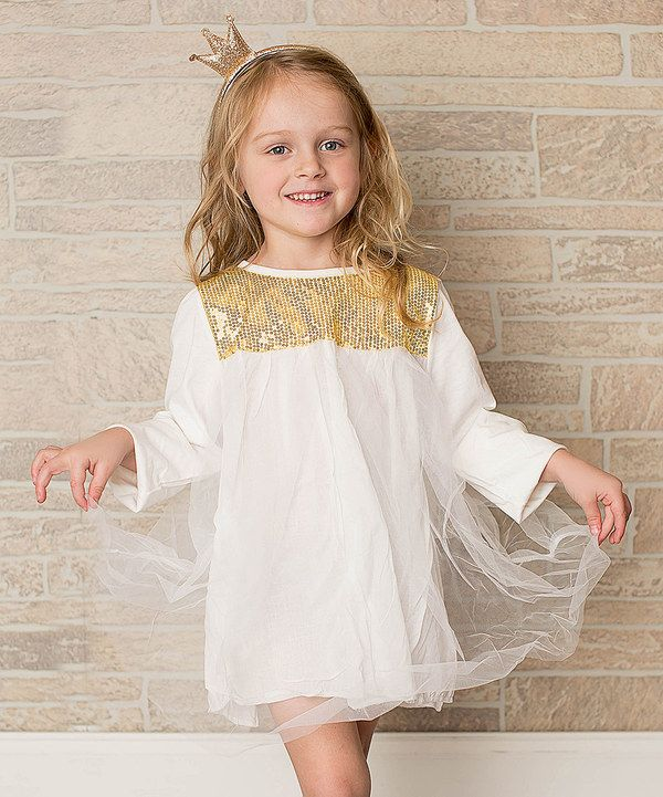 Look at this Little Miss Fairytale Cream & Gold Luxe Dress - Infant & Kids on #zulily today!