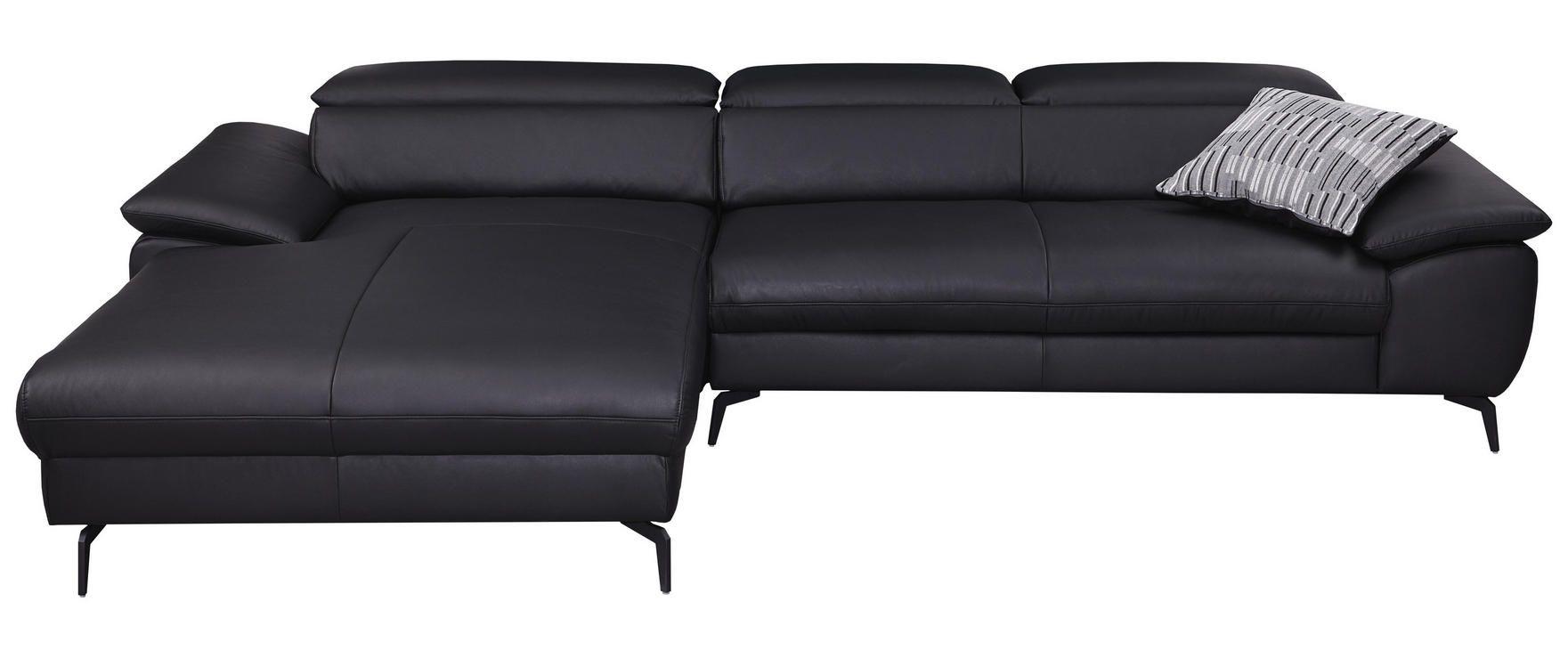 Wohnlandschaft In Leder Schwarz Schwarz Design Leder Metall 195 297cm Chilliano Couch Leder Wohnlandschaft Wohnen
