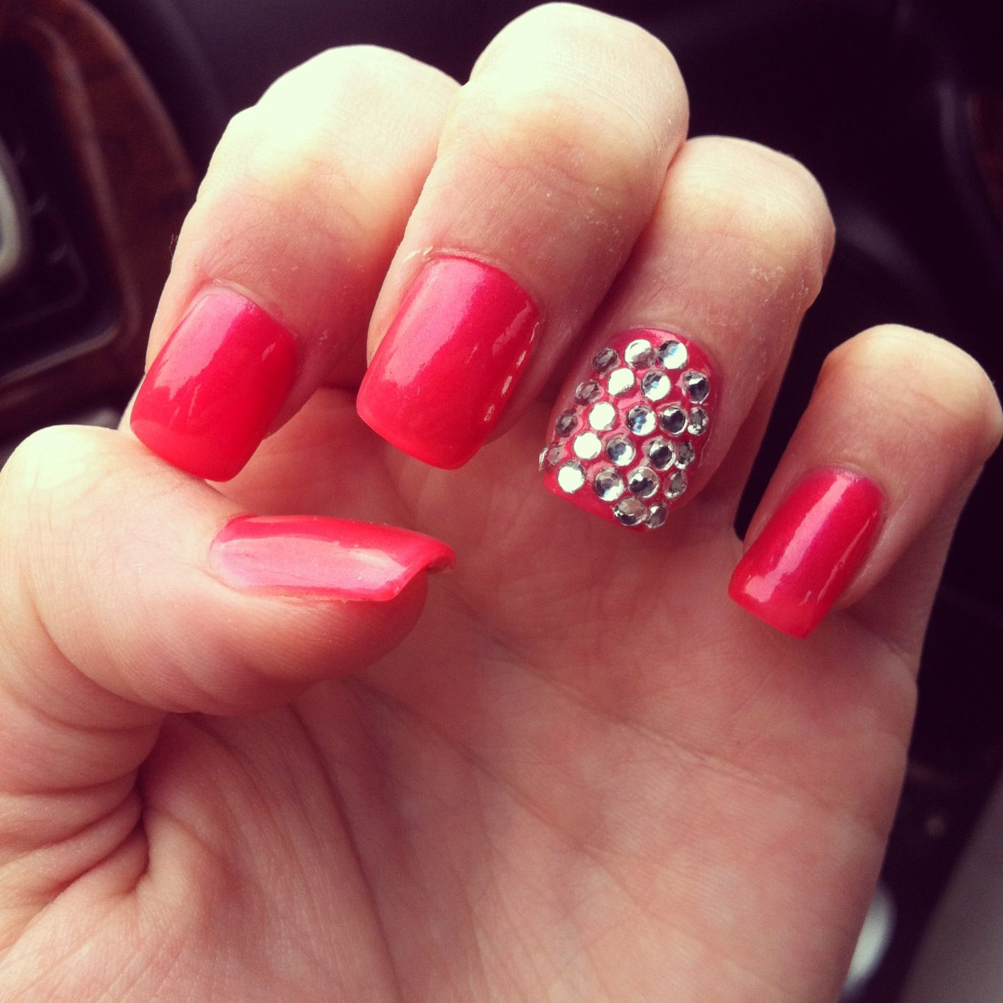 Pink rhinestone nails fashion pinterest rhinestone Fashion style and nails facebook