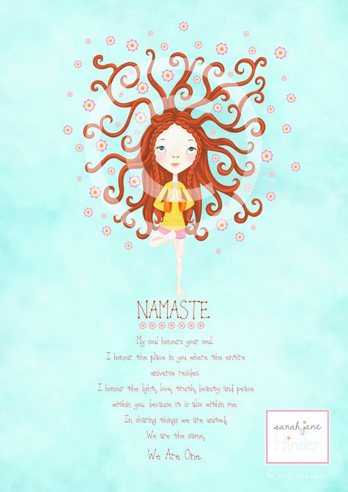 Yoga Art Print - Namaste - Tree Pose - Quote - Red Head ...