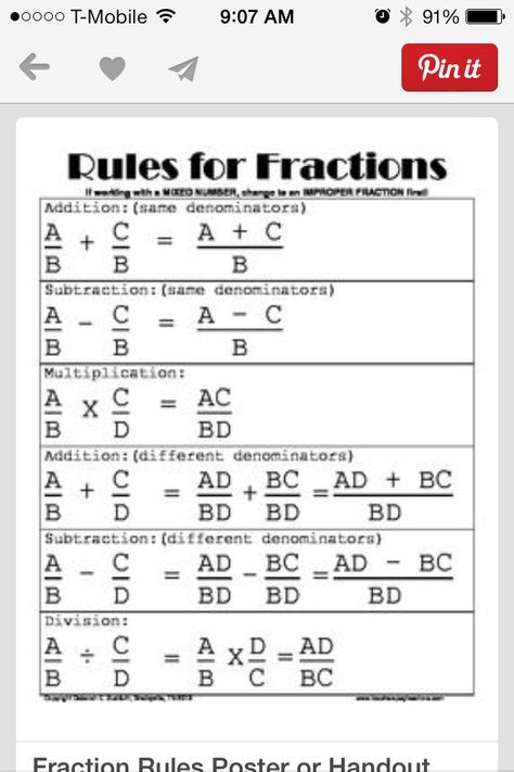 Fraction Rules Poster Or Handout Matematika Kelas 8 Matematika Kelas 4 Matematika Kelas 5